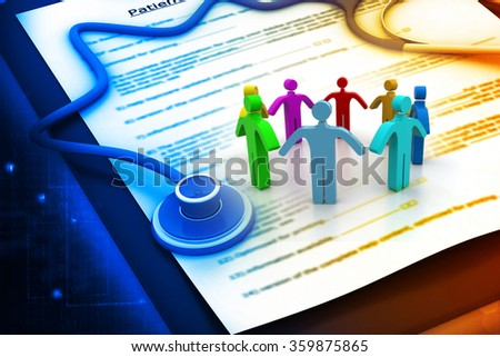 People with Medical and health insurance claim form and stethoscope - stock photo