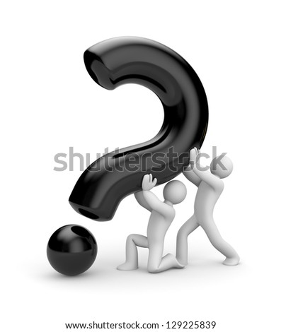 People with question. Teamwork metaphor - stock photo