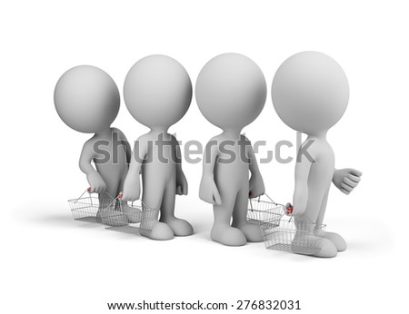 People with shopping baskets in the queue. 3d image. White background. - stock photo