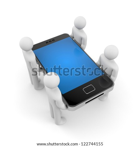 People with smartphone - stock photo