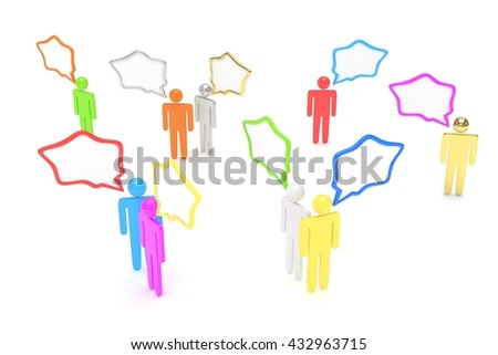 people with talk bubbles isolated over a white background. 3d rendering.