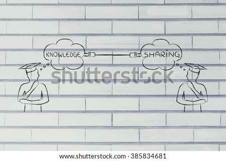 people with thought bubbles connected with a plug, with text Knowledge Sharing - stock photo