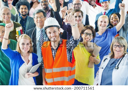 People with Various Occupations Arms Raised - stock photo