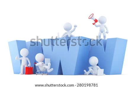 People with WWW sign. Isolated on white. Contains clipping path. - stock photo