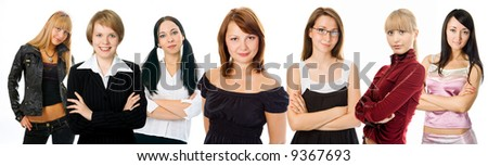 people woman group on white background - stock photo