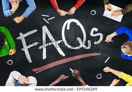 People Working and FAQs Concept - stock photo