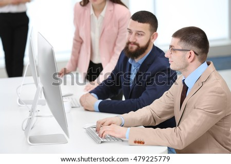People working at a office