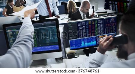 People Working Finance Stock Exchange Concept - stock photo
