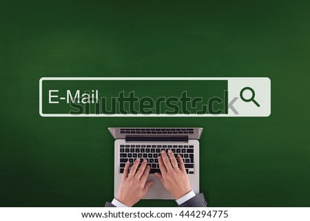 PEOPLE WORKING OFFICE COMMUNICATION  E-MAIL TECHNOLOGY SEARCHING CONCEPT - stock photo