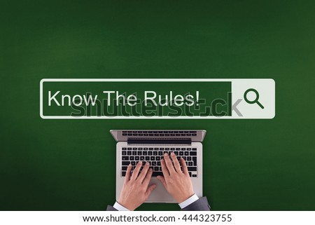 PEOPLE WORKING OFFICE COMMUNICATION  KNOW THE RULES! TECHNOLOGY SEARCHING CONCEPT - stock photo