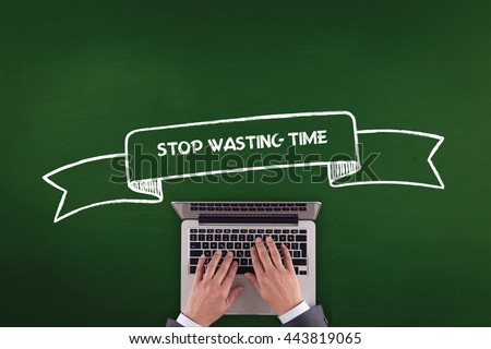 PEOPLE WORKING OFFICE COMMUNICATION  STOP WASTING TIME TECHNOLOGY CONCEPT - stock photo