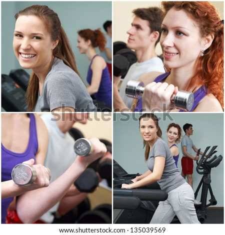 People working out in fitness center - stock photo