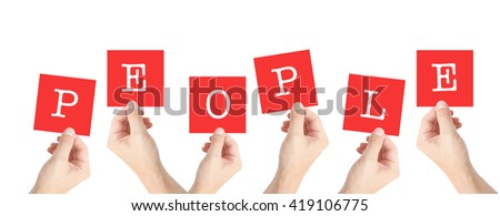 People written on cards held by hands - stock photo