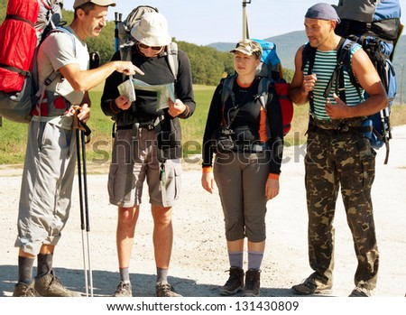 peoples in hike - stock photo