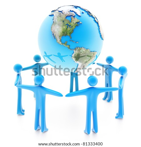 Peoples standing around the Earth planet holding hands, isolated on white background