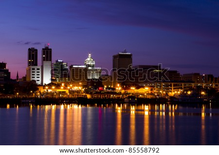 peoria riverfront at night in central illinois