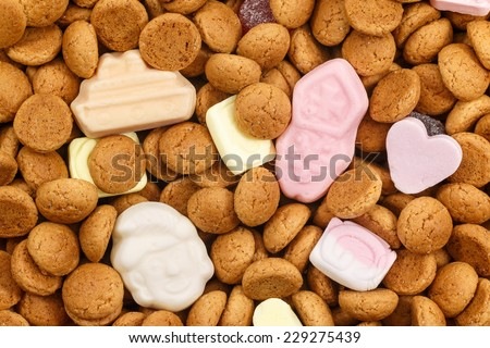 Pepernoten and colorful candy Sinterklaas. Also called strooigoed for Sinterklaas celebration on 5 December. Event in Holland, Netherlands and Belgium. - stock photo