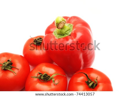 Pepper and tomato on white background - stock photo