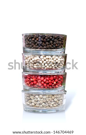 Pepper bowls isolated on white background - stock photo