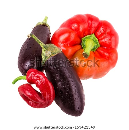 pepper, eggplant, hot peppers isolated on white background - stock photo