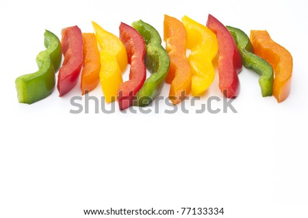 Pepper fingers cut & ready to eat - stock photo