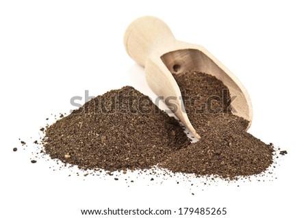 pepper ground on white background - stock photo