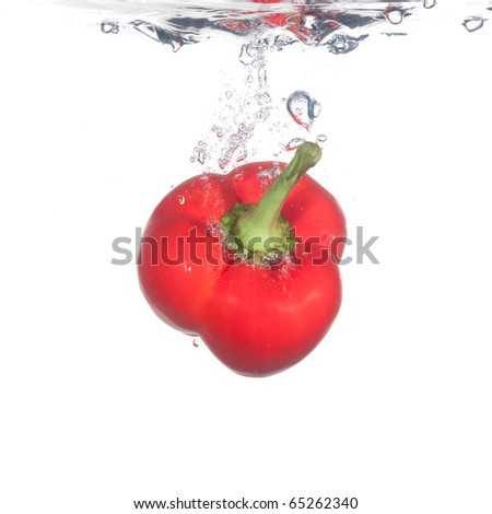 pepper in water - stock photo