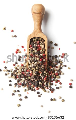 Pepper in wooden spoon - stock photo
