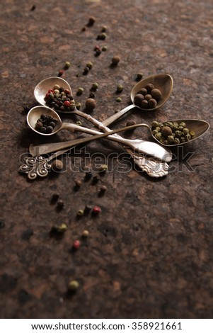 pepper mixture. seasoning for any dish, on a spoon. pungent odor - stock photo