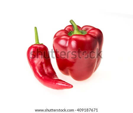 pepper paprika isolated on white - stock photo