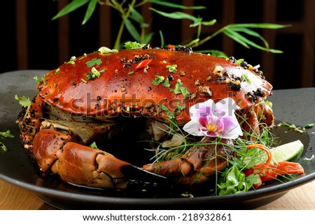 Pepper sauce crab (Singaporean recipe) - stock photo