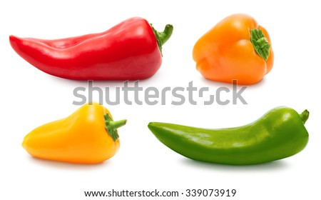 Pepper set isolated over white, clipping path - stock photo
