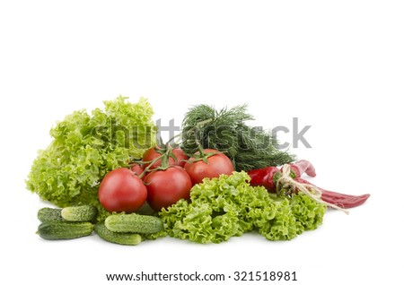 pepper tomato cucumber dill salad leaves on a white background - stock photo