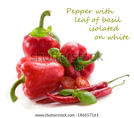 Pepper with leaf of basil  isolated on white background  - stock photo