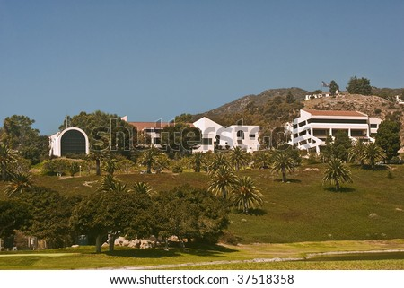 Pepperdine University- Campus overlooking Malibu - stock photo