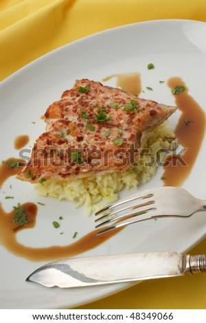 peppered wild salmon steak with organic rice