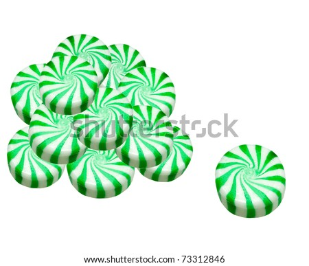 peppermint candies on a white background - stock photo
