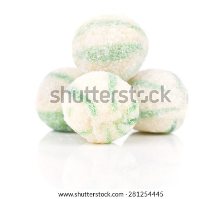 Peppermint olorful candies, on a white background - stock photo