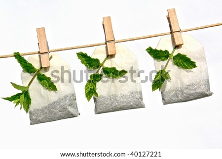Peppermint tea bag and fresh peppermint on line