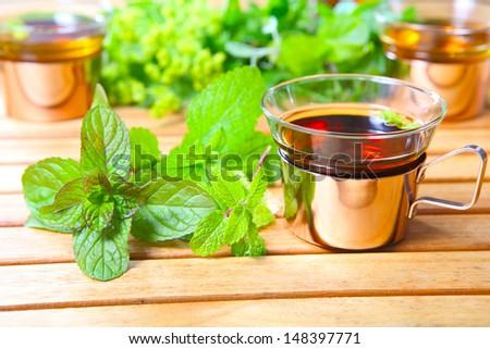 Peppermint tea, medicinal herbs - stock photo