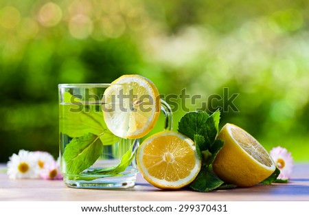 peppermint tea with lemon on wooden table in garden - stock photo