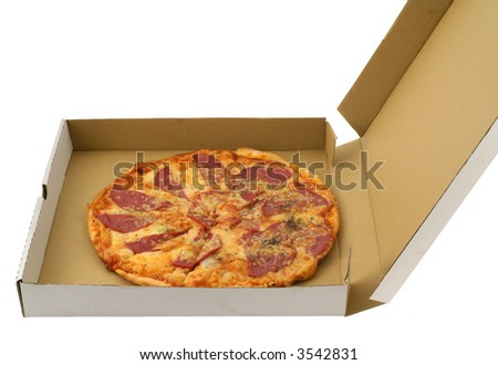 pepperon pizza in open cardboard box, all isolated on white background
