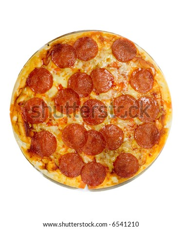 Pepperoni and cheese pizza isolated on white background - stock photo