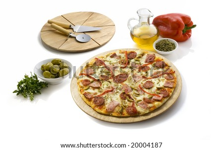 pepperoni and cheese pizza isolated on white, has a cutting table and some ingredients all around - stock photo