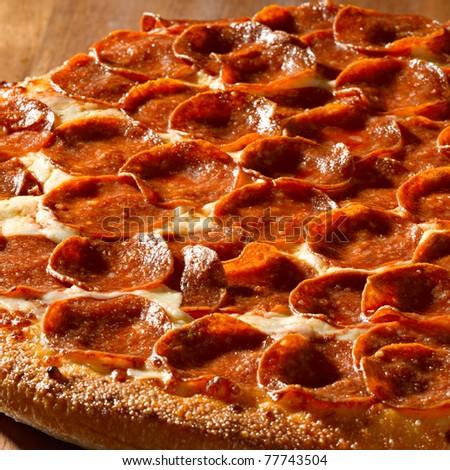 pepperoni pizza closeup - stock photo
