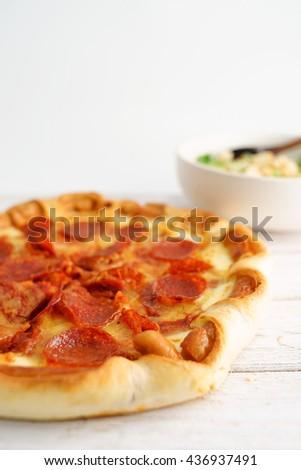 Pepperoni Pizza , Focus Selection - stock photo
