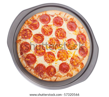 pepperoni pizza in a cooking tray on white background - stock photo