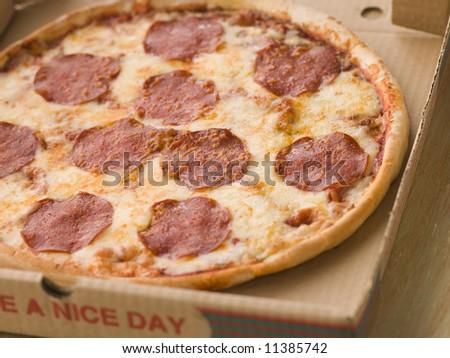 Pepperoni Pizza in a Take Away Box - stock photo