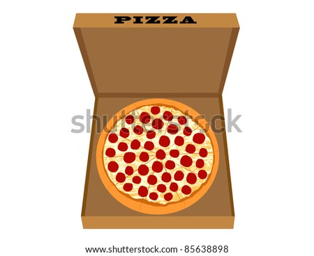 Pepperoni Pizza in Pizza Box Illustration - High Resolution JPEG Version (vector version also available). - stock photo