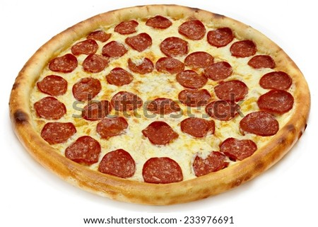 pepperoni pizza isolated - stock photo